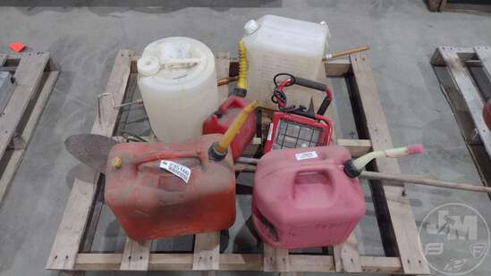 (3) GAS CANS, (2) PLASTIC CONTAINERS