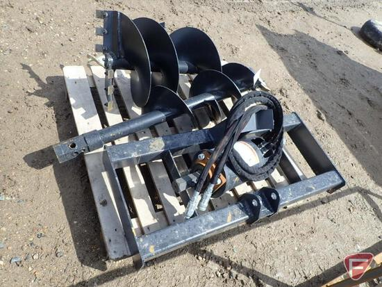 """Unused Wolverine Hydraulic spiral drill with 12"""" and 18"""" auger bits skid loader attachment"""