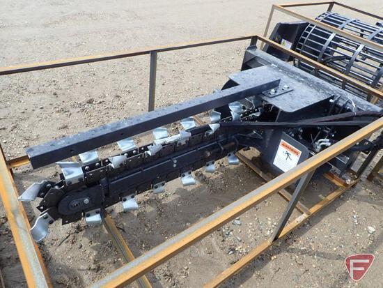 Unused Wolverine 6' trencher skid loader attachment