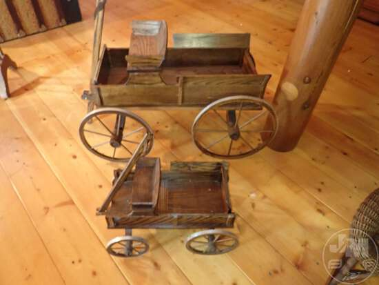 """(2) VINTAGE DOLL WAGONS, LARGEST IS 36""""L X 22""""H.; THIS"""