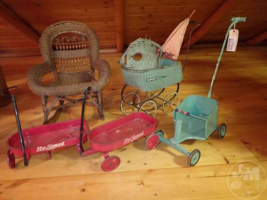 CHILD'S WICKER ROCKING CHAIR, (2) DOLL HY-SPEED METAL WAGONS, (2)
