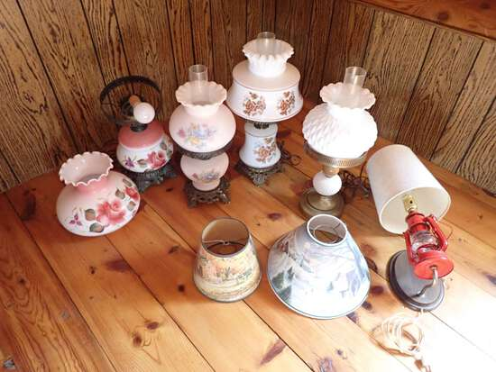 (9) ELECTRIC TABLE LAMPS, (1) WALL LAMP, SHADES AND CHIMNEYS.