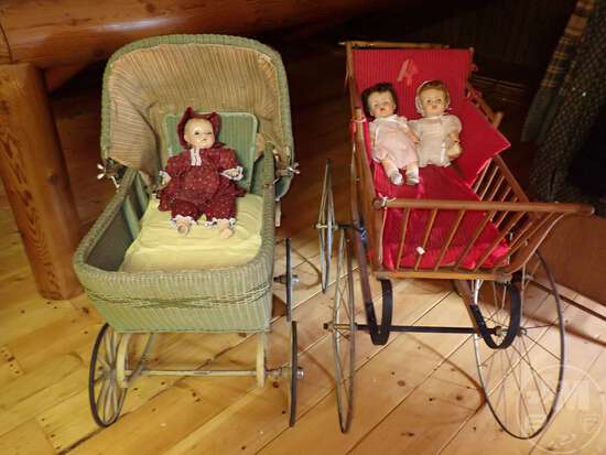(2) VINTAGE STROLLERS/BUGGIES, DOLLS; THIS LOT IS LOCATED IN THE