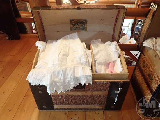 VINTAGE STEAMER TRUNKS WITH VINTAGE CLOTHING; THIS LOT IS LOCATED