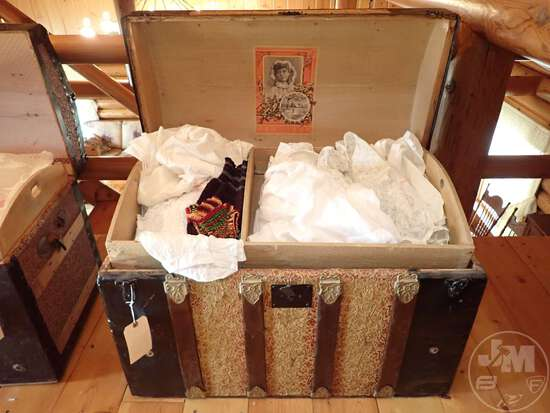 VINTAGE STEAMER TRUNK WITH VINTAGE CLOTHING; THIS LOT IS LOCATED
