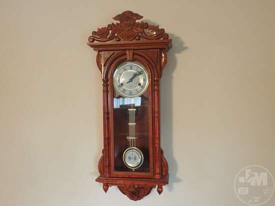 (2) PENDULUM WALL CLOCKS, WALL CURIO CABINET