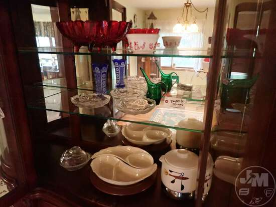 SERVING DISH, CERAMIC CROCK POT, GLASSWARE
