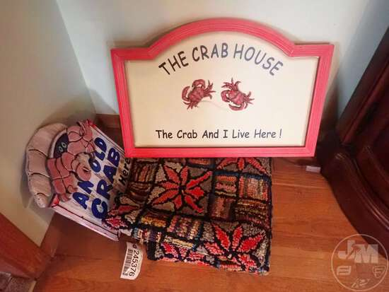 RUG, (2) CRAB HOUSE SIGNS