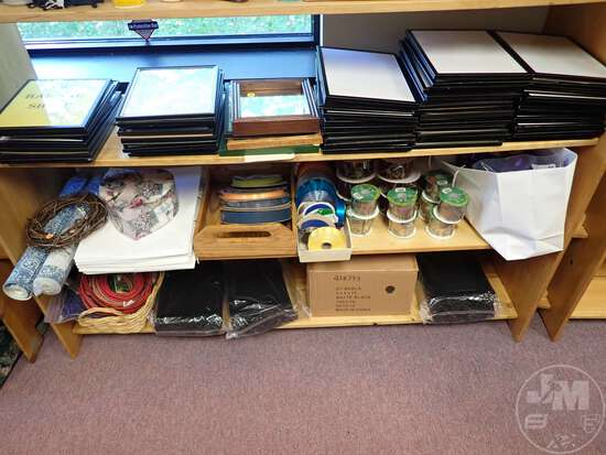 (3) SHELVES OF PICTURE FRAMES, BAGS, RIBBONS, DECOR, CRAFT ITEMS