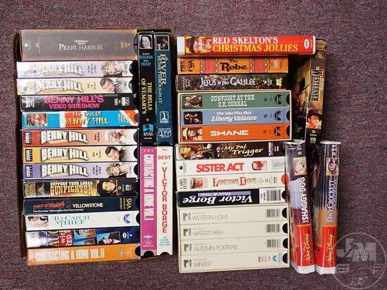 VHS MOVIES, GERMAN LANGUAGE CASSETTES, AUDIO BOOKS