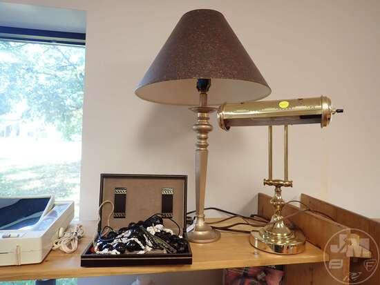 (2) SHELVES OF WOMENS JEWELRY, FANS, ADJUSTABLE BRASS LAMP, MAKEUP