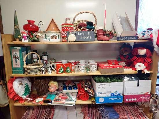 (3) SHELVES OF CHRISTMAS DECOR, MUGS, DOLL
