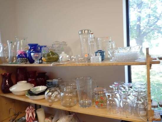 (2) SHELVES OF GLASSWARE AND CERAMICS