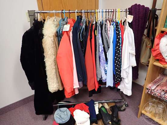 CLOTHES RACK, WOMENS CLOTHING, PURSES