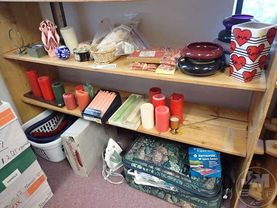 (2) SHELVES OF CANDLES AND HOLDERS, SNUFFER, VACUUM PARTS, SUITCASE,