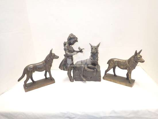 BRASS: DOG FIGURINES, GIRL/DOG SCULPTURE, STANDS, BOWL. 2 BOXES