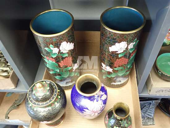 CLOISONNE VASES, BOWLS AND BELL. 2 BOXES
