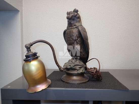 "BRASS OWL ADJUSTABLE DESK LAMP 15""H"