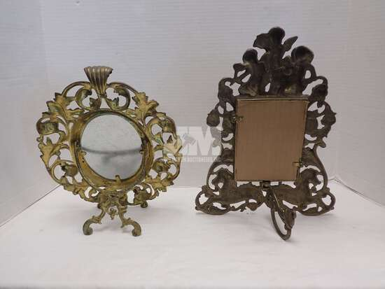 BRASS PICTURE FRAMES, ONE WITH BROKEN LEAF. 2 BOXES