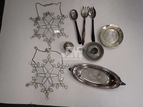 METAL BOOKENDS, SUNCATCHER SNOWFLAKES, CANDLE HOLDERS, UTENSILS. 2 BOXES