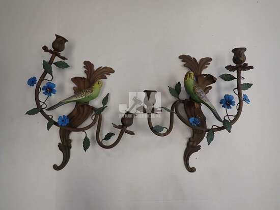 """METAL BIRD WALL CANDLE HOLDERS 16""""H. 2PCS"""
