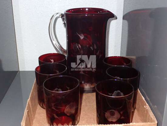 RUBY RED GLASSWARE, PITCHER WITH 6 MATCHING GLASSES. 2 BOXES
