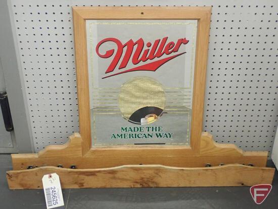 """MILLER BEER 2PC POOL CUE HOLDER, TOP IS 39""""W X 26""""H"""