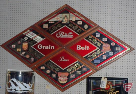 """GRAIN BELT BEER 4 FRAMED MIRROR SECTIONS MOUNTED ON WOOD BACK, 62""""W X 39""""H"""