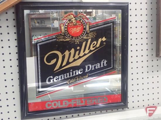 "MILLER GENUINE DRAFT FRAMED MIRROR, 18"" SQUARE"