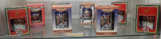 (8) BUDWEISER HOLIDAY STEINS, 1999, 2000, 2003, 2004. 8PCS