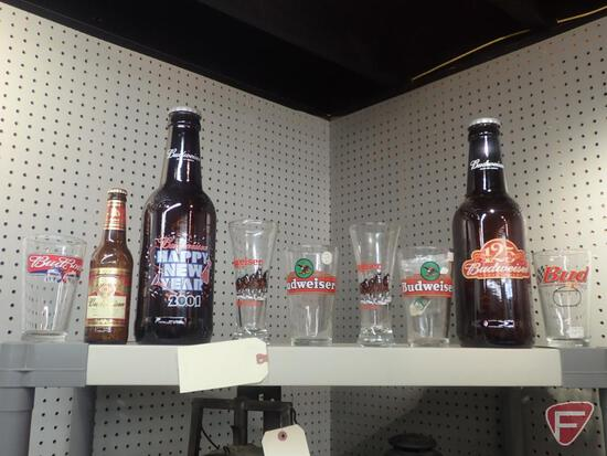 "BUDWEISER: (2) 15""H GLASS BOTTLES - EMPTY, GLASSES. 9PCS"