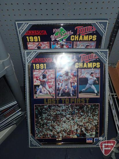 "(2) MINNESOTA TWINS 1991 WORLD SERIES CHAMPS FRAMED PRINTS, 16""X20"". BOTH"