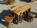 Teak Wood Branch Table c/w 4 Stools