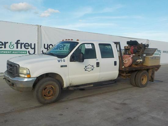 2004 Ford F350XL Super Duty, White, 4 Door Crew Cab, Flatbed, A/T, Lockable