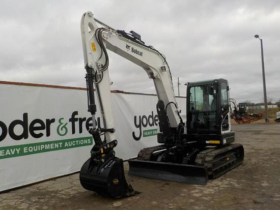 2019 Bobcat E85 Excavator, Rubber Tracks, Blade, Offset, CV, QH, Piped, Aux