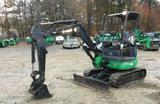 "2013 John Deere 27D Mini Excavator, Open Operator Station, 18"" Tooth Bucket"