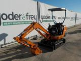 Hitachi EX12 Mini Excavator, Rubber Tracks, Blade, Offset