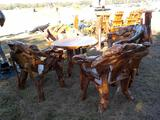 Teak Log Table c/w Chair