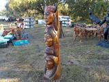 6' Teak Wood Totem Pole