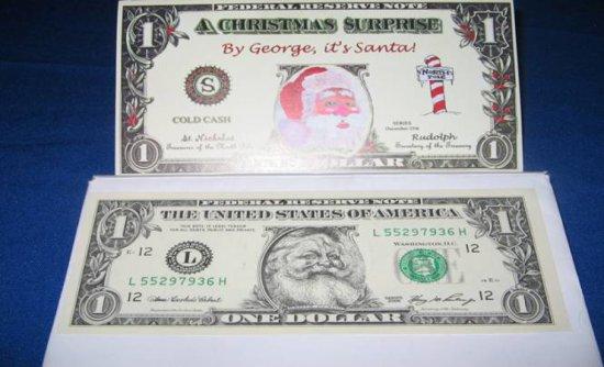 Santa Clause Rub Off Dollar Bill
