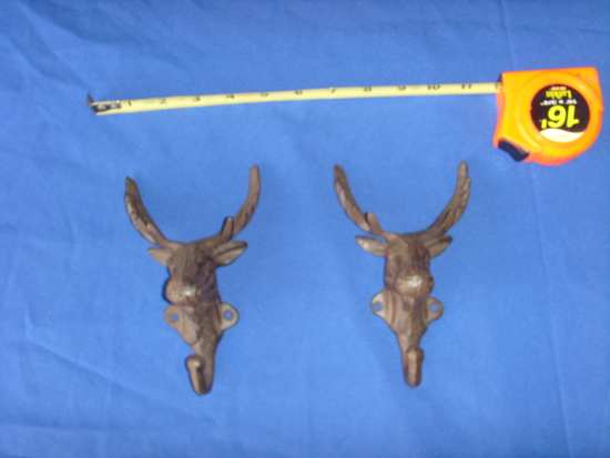 Two deer head antlers coathanger hook