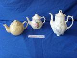 Three vintage teapots