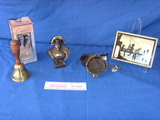 Bell - Napoleon bust - frying pans - thermometer