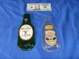 2 glass beer bottle displays