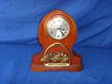 Wood race horse mantel clock