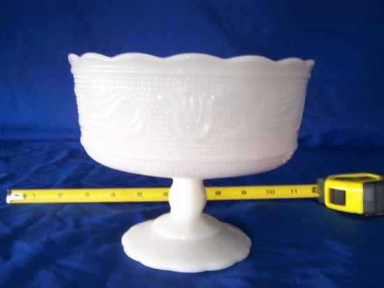 White milk glass candy dish