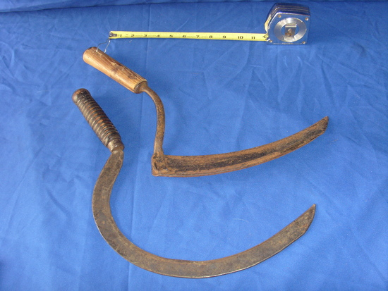 2 vintage metal Scythe cutters with wood handles cutting tools