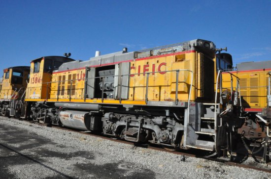 1982 EMD MP15 LOCOMOTIVE  ENGINE BLOCK HAS BEEN CUT, (LOCATED AT THE MEI FA