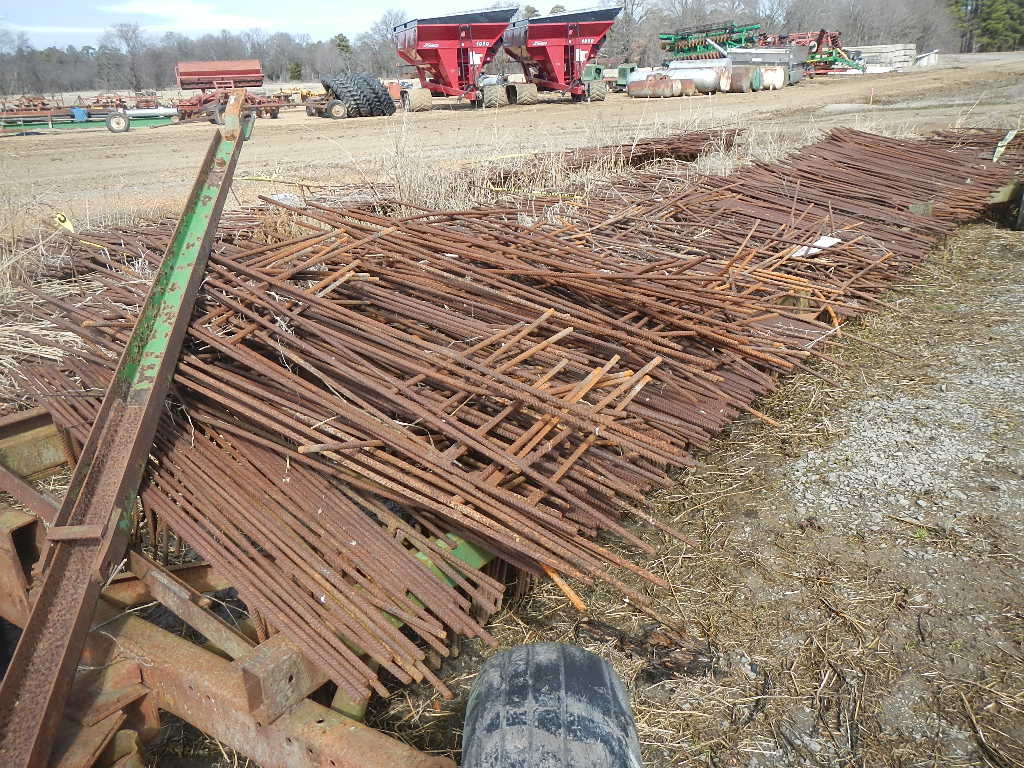 4 WHEEL TRAILER WITH LOT OF REBAR LEVEE GATES