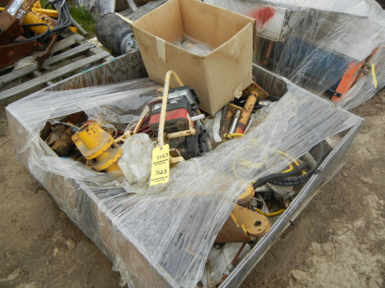 PALLET WITH RAIL DRILL  AND MISCELLANEOUS PARTS